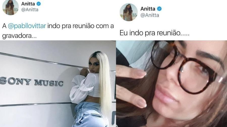 Anitta brinca em comparação com Pabllo Vittar - Reprodução/Twitter