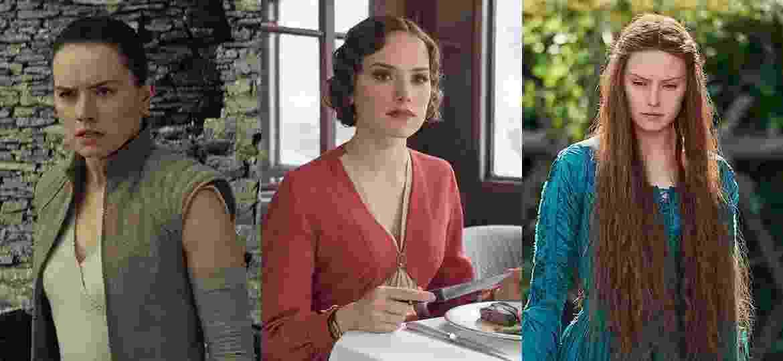 """Daisy Ridley em """"Star Wars"""", """"Assassinato no Expresso do Oriente"""" e """"Ophelia"""" - Divulgação e Montagem/UOL"""