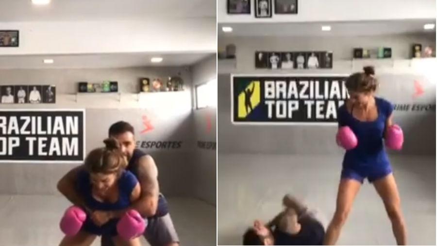 Grazi Massafera derruba Chico Salgado em treino - Reprodução/Instagram