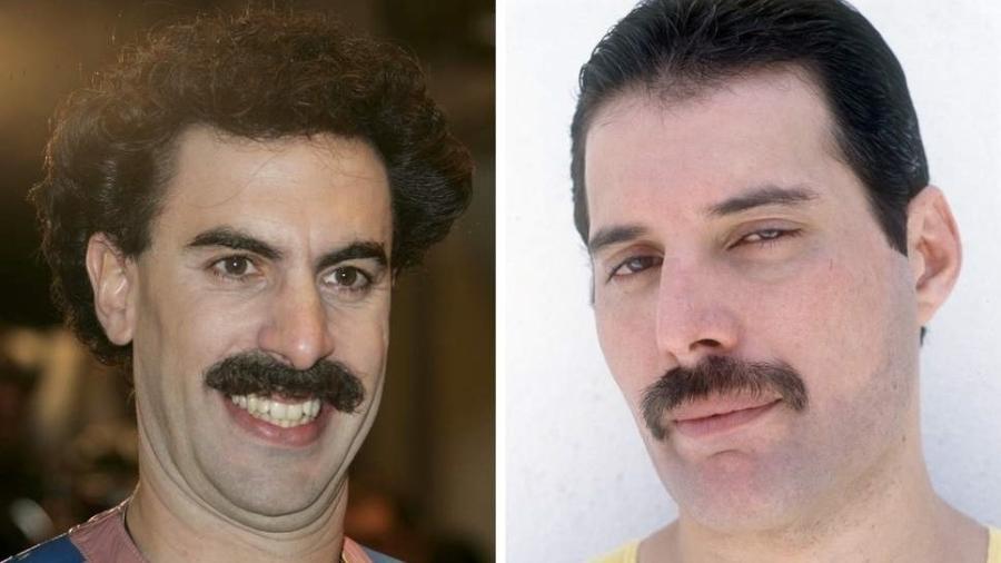 O ator Sacha Baron Cohen e o cantor Freddie Mercury - Rex Features/Montagem