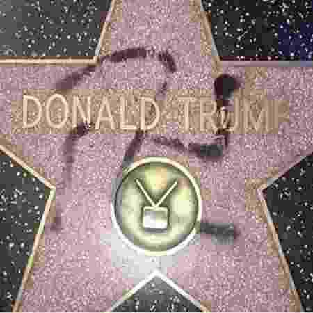 Estrela de o Donald Trump na Calçada da Fama de Hollywood foi vandalizada  - Reprodução