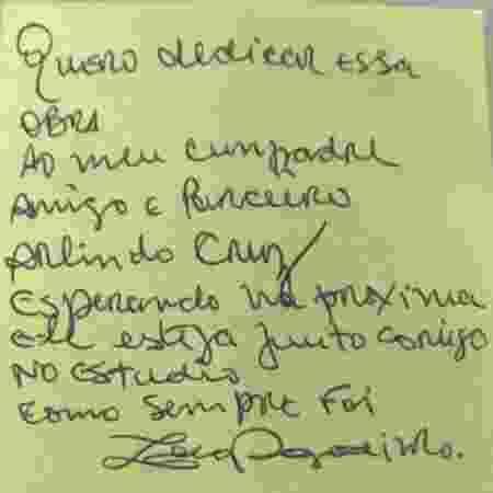 Bilhete escrito por Zeca Pagodinho - Divulgação