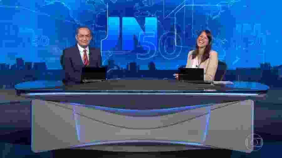 Ayres Rocha e Jéssica Senra na bancada do Jornal Nacional - Reprodução/TV Globo