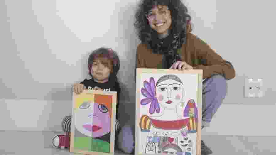 Manuela faz desenhos e gravuras para melhorar sua própria comunicação com o filho Luca: explicar-lhe sentimentos e conceitos do dia a dia, ampliar seu vocabulário e simplesmente entretê-lo - Arquivo pessoal