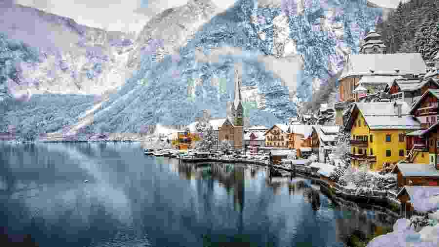 """Hallstatt, na Áustria, ispirou a criação do rieno de Arendelle no filme """"Frozen"""" - iStock"""