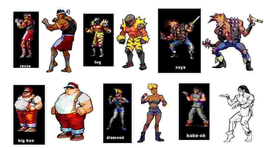 """Alguns dos inimigos de Streets of Rage: a versão """"retrô"""" e os modelos atualizados - Reprodução"""