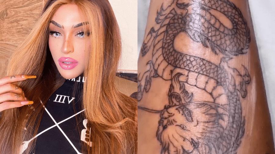 Pabllo Vittar mostrou detalhes de tatuagem de dragão na perna em seus stories no Instagram - Reprodução/Instagram/@pabllovittar