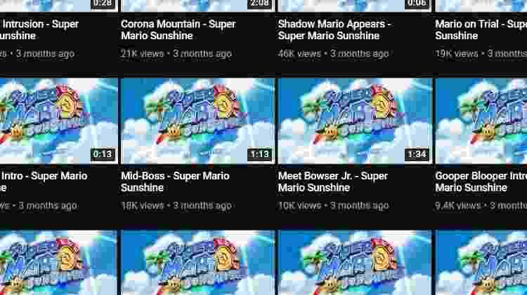 Thumbs de vídeos da trilha de Mario Sunshine no YouTube - Reprodução / YouTube (@GilvaSunner) - Reprodução / YouTube (@GilvaSunner)