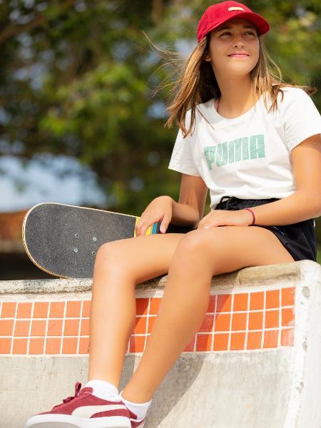 Isa Pacheco, 16, de Florianópolis, representará o Brasil na Olimpíada de Tóquio na estreia da categoria skate - Divulgação/Puma