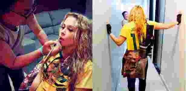 Joelma usa camisa do Brasil personalizada com o seu nome para gravação do clipe - Divulgação