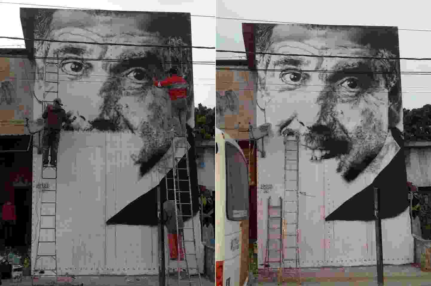 """Artista plástico Paulo Terra faz mural do Professor Girafales, de """"Chaves"""", em homenagem a Rubén Aguirre, morto em 17 de junho - Montagem/Reprodução/Facebook/Paulo Terra"""