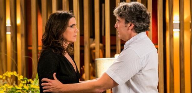 """Rebeca (Malu Mader) e Aparício (Alexandre Borges) relembram o passado em """"Haja Coração"""" - Paulo Belote/TV Globo"""