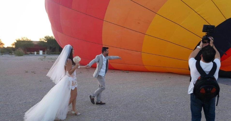 Laura Keller e Jorge Sousa sobem em balão, em Las Vegas, para celebrarem casamento