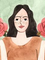 Ilustração de uma personagem representando o signo de Libra. Vestida com camisa na cor laranja, a personagem possui forma humana,  enquadramento de busto e está posicionada de frente. As mãos, com as palmas voltadas para cima, posicionadas na altura dos ombros estão equilibrando uma flor rosa grande, cada uma. O fundo da imagem é verde claro.