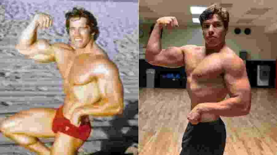 Arnold Schwarzenegger em pose icônica e o filho, Joseph Baena - Reprodução/Instagram