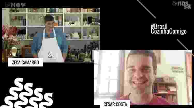 Zeca Camargo e o chef César Costa na live do #BrasilCozinhaComigo - Reprodução/UOL - Reprodução/UOL