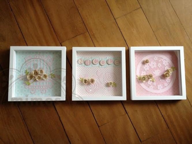 Trio de quadro de flores em MDF, da Mimos e Afins (www.mimosafins.blogspot.com.br). Cada peça mede 20 cm por 20 cm. R$ 650. Preço pesquisado em agosto de 2015 e sujeito a alterações