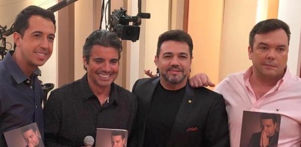 """Thiago Rocha, João Kleber, Marco Feliciano e Felipeh Campos no programa """"Você na TV"""" - Felipeh Campos/Arquivo pessoal"""