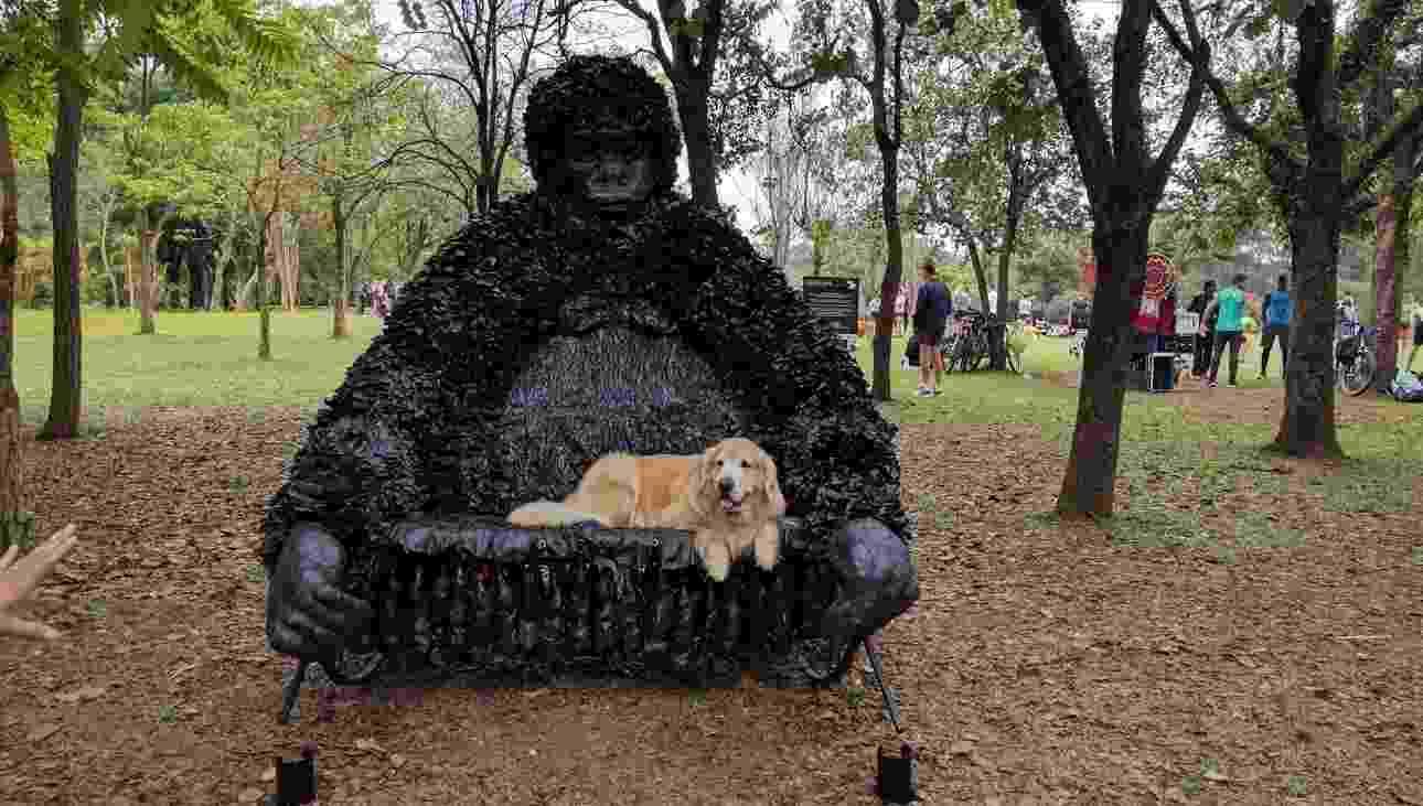 Poltrona em forma de gorila gigante feita de sacos de lixo e garrafas PET pela artista de Sonia Costa exposta na Zoo Urbana, no Parque Ibirapuera, em São Paulo - Divulgação