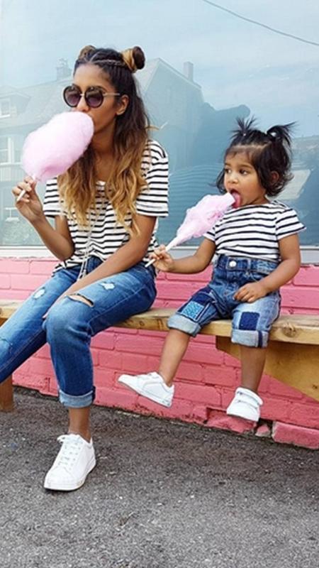 """Ariba Pervaiz e sua pequena """"cópia"""", a filha Aaliyana - Reprodução/Instagram"""