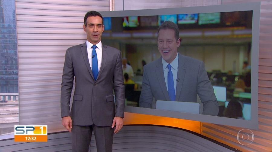 """César Tralli e Dony de Nuccio brincam ao repetir gravata no """"SPTV 1ª Edição"""" - Reprodução/TV Globo"""