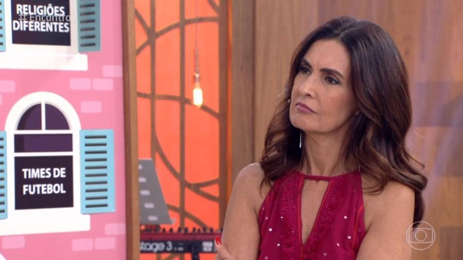 """Fátima Bernardes se incomoda com pergunta sobre o namoro no """"Encontro"""" - Reprodução/Globo"""