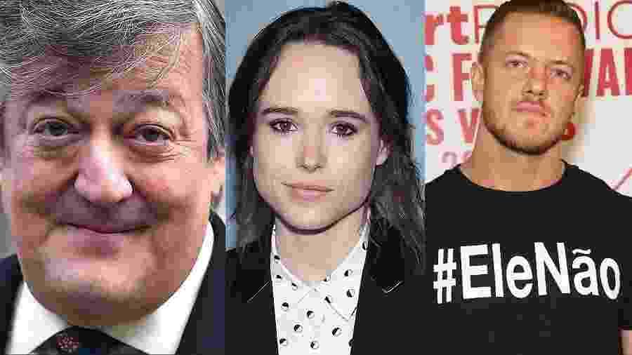 Stephen Fry, Ellen Page e Dan Reynolds - Getty/Reprodução/Montagem