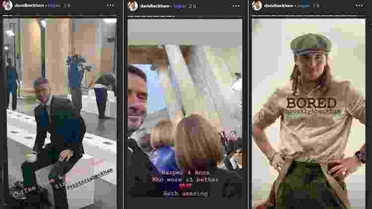 """David se divertiu nos bastidores, fez piada com o penteado da filha e de Anna Wintour (""""Quem usou melhor?"""") e com o filho Brooklyn - Reprodução/Instagram - Reprodução/Instagram"""