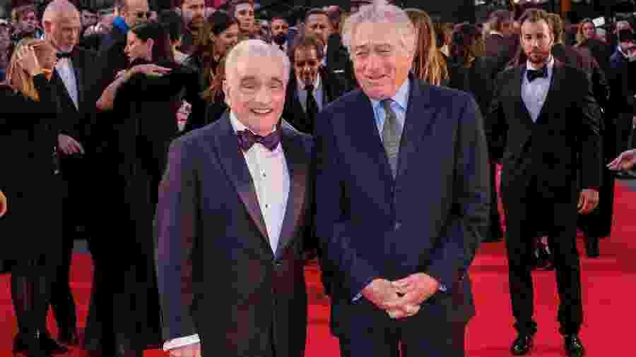 """Martin Scorsese (à esq.) e Robert De Niro na pré-estreia de """"O Irlandês"""" no Festival de Londres - Gareth Cattermole/Getty Images"""