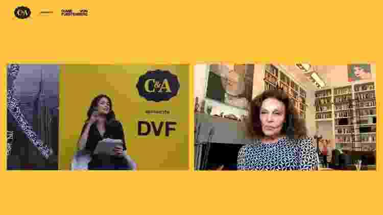 Diane von Fürstenberg é entrevistada por Carol Ribeiro, durante evento de lançamento da collab com a C&A - Reprodução - Reprodução