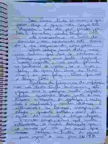 Laura preferiu escrever à mão seu depoimento para Universa - Reprodução/UOL - Reprodução/UOL
