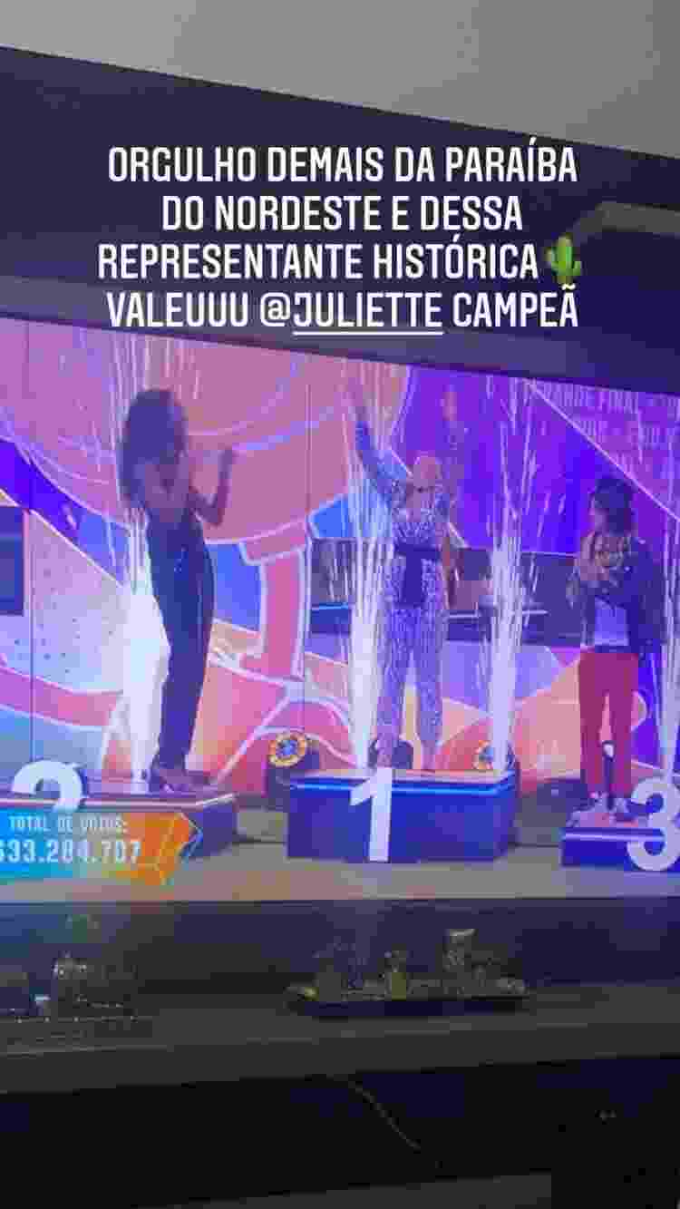 Ranniery Gomes parabeniza Juliette do BBB 21 - Reprodução/Instagram - Reprodução/Instagram