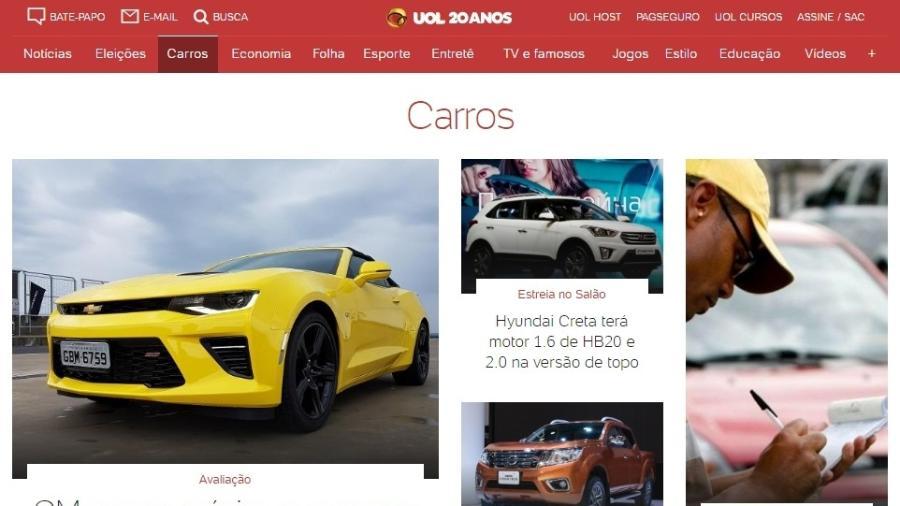 Novo projeto gráfico facilita navegação e interatividade em UOL Carros - Reprodução