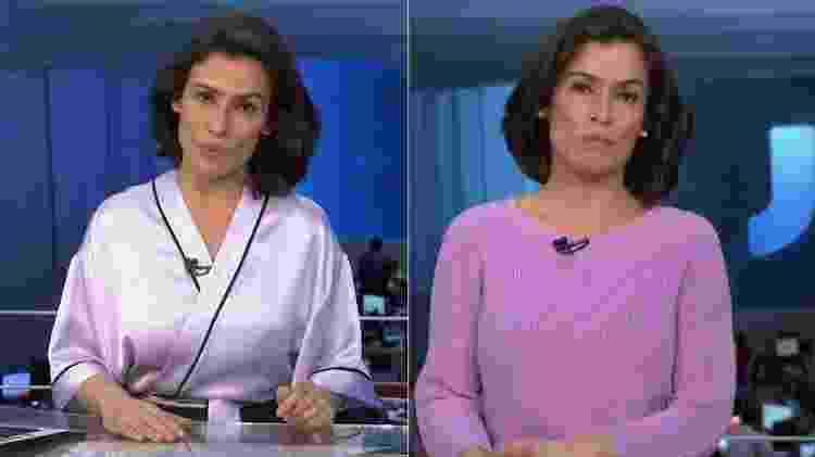 """Renata Vasconcellos trocou o """"roupão"""" por uma blusa de tricô em chamada do """"JN"""" - Montagem/Reprodução/TV Globo - Montagem/Reprodução/TV Globo"""