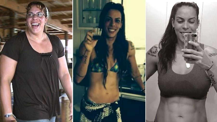 As três fases de Rebeca Gusmão: ela chegou a pesar 108 quilos, foi para 64 e, após vencer a depressão, está com 78 quilos e uma barriga tanquinho - Fotomontagem/Arquivo Pessoal