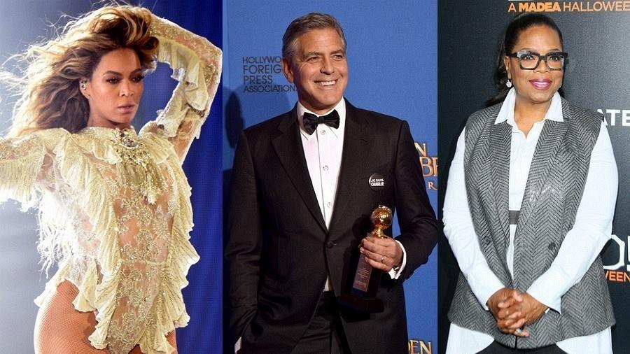 Beyoncé, George Clooney e Oprah - Getty Images/Montagem