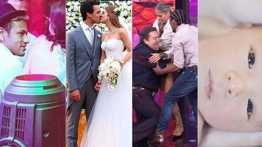 Neymar com Marquezine, Marina Ruy Barbosa se casa, Galisteu derruba Faustão e Junior mostra rosto do filho - Montagem UOL