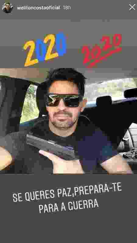 Em publicações no Instagram, Weliton Costa aparece armado e com mensagem ameaçadora - Reprodução/Instagram