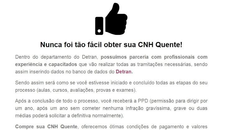Sites na web oferecem CNH 'quente' sem a necessidade de fazer autoescola ou prova - Reprodução