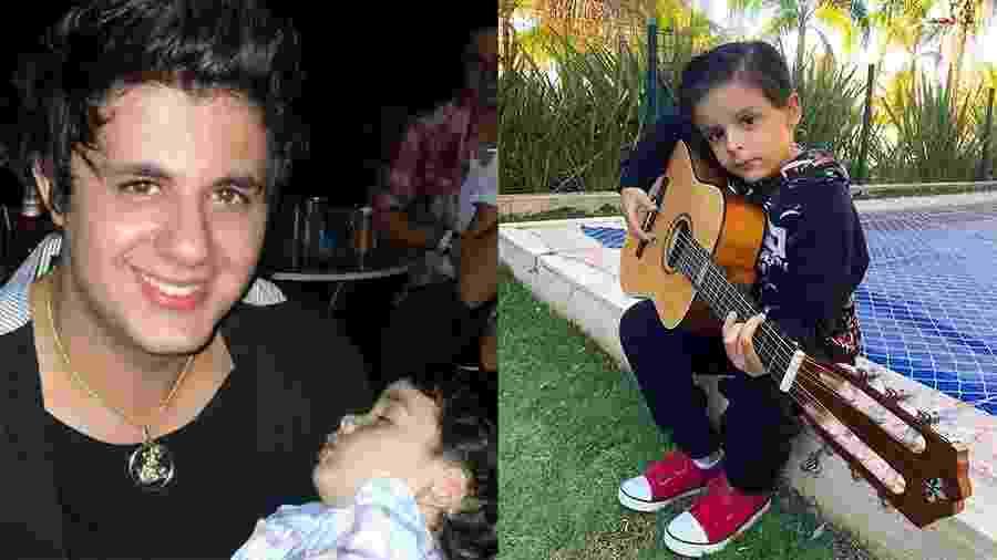 Cristiano Araújo com o filho João Gabriel e, ao lado, o filho Bernardo tocando violão, em foto tirada pela mãe no ano passado - Reprodução/Instagram