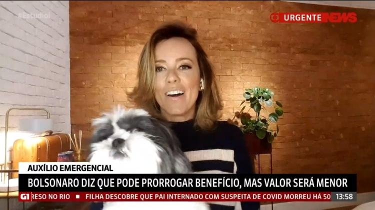 Natuza Nery e a cachorra Lola - Globonews/Reprodução - Globonews/Reprodução