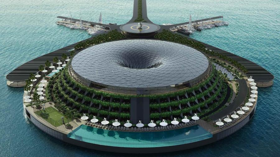 Representação artística do hotel flutuante - Hayri Atak Architectural Design Studio