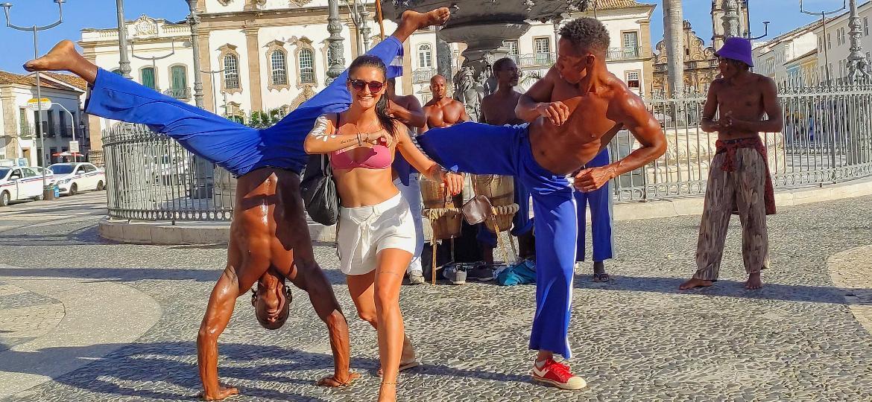 Roberta Luvizotto durante a sua visita no Pelourinho, em Salvador (BA) - Arquivo pessoal