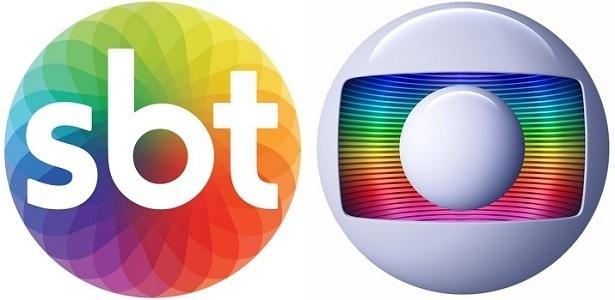 Logomarcas do SBT e da Globo, que parabenizou concorrente no Twitter - Montagem/UOL
