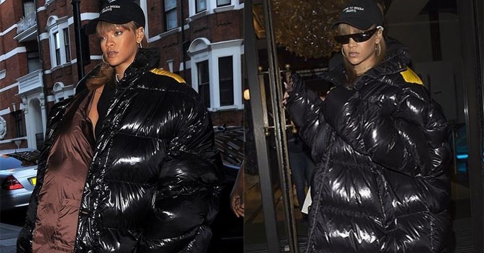 20.ago.2016 - Na noite de sexta (19), a cantora Rihanna usou um casaco da marca Raf Simons para ir às compras em uma loja de luxo em Londres