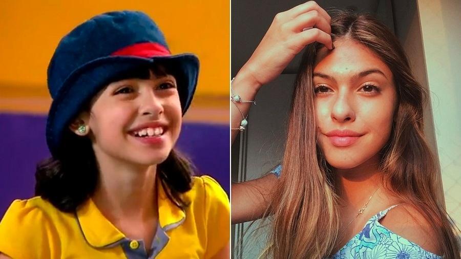 """A atriz Fernanda Concon em """"Carrossel"""" (2012) e atualmente - Montagem/Reprodução/SBT/Instagram"""