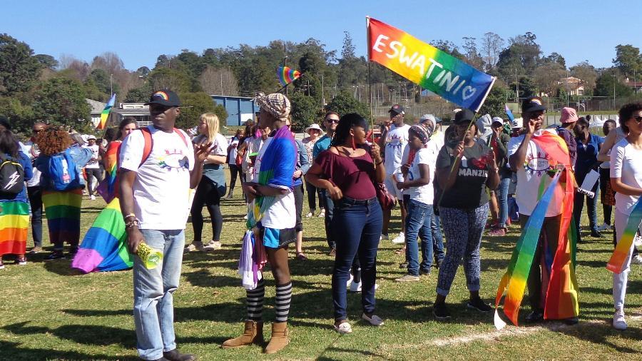 Primeira marcha pelos direitos LGBT do país, na capital Lobamba  - AFP