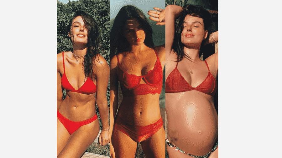 Isis Valverde faz comparação de sua barriga antes de engravidar, com 3 meses de gestação e aos 8 meses - Reprodução/Instagram