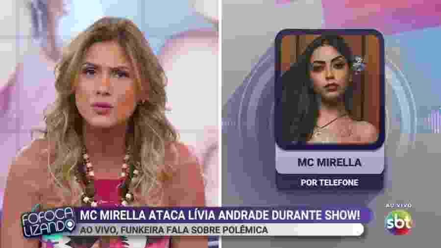 """Lívia Andrade discute com MC Mirella no """"Fofocalizando"""" após ser ameaçada pela funkeira - Reprodução/SBT"""