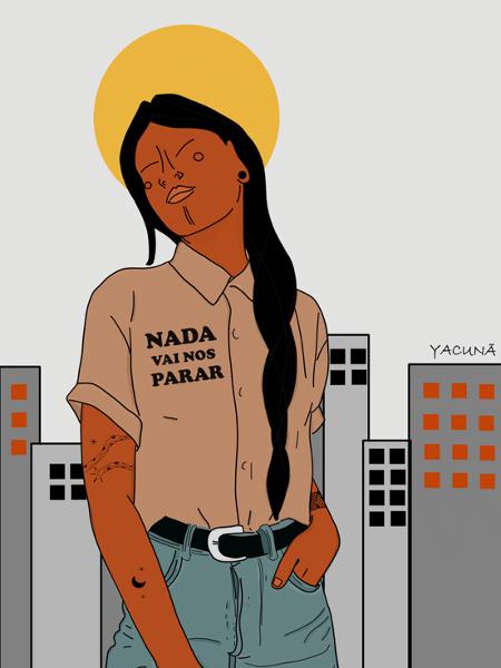 Nada vai nos parar, obra de Yacunã Tuxá, artista e ativista que usa o suporte da arte digital para falar da condição das mulheres indígenas - Divulgação - Divulgação
